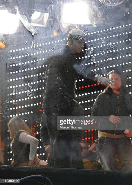 Eminem during Eminem and 50 Cent Appearing and Performing on MTV's 'TRL' December 4 2006 at MTV Studios Times Square in New York City New York United...