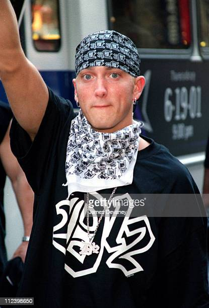 Eminem during Eminem Marches in Times Square to Promote his New Group 'D12' at Times Square in New York City New York United States