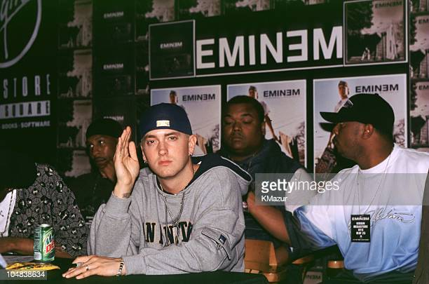 Eminem during Eminem signing his new release 'Marshall Mathers LP' at Virgin Record Store Times Square in New York City New York United States