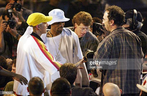 Eminem has a confrontaion with Triumph the Insult Comic Dog and Robert Smigel at the 2002 MTV Video Music Awards at Radio City Music Hall in New York...