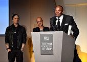 Eminem Jimmy Iovine and Dr Dre speak onstage at WSJ Magazine 2014 Innovator Awards at Museum of Modern Art on November 5 2014 in New York City