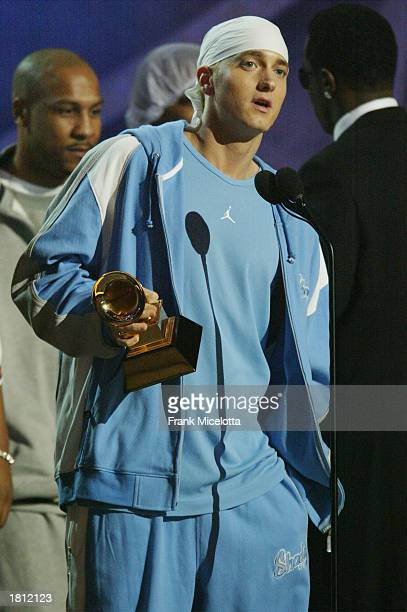 Eminem on stage during the 45th Annual Grammy Awards at Madison Square Garden on February 23 2003 in New York City