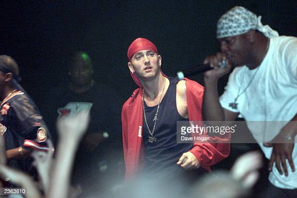 Eminem on stage with D12 at the Astoria London England 23 August 2001 Photo by DAVE HOGAN /Mission Pictures/Getty Images