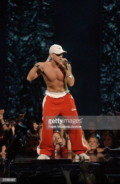 Eminem onstage performing at the 2002 MTV Video Music Awards at Radio City Music Hall in New York City August 29 2002 Photo by Frank...