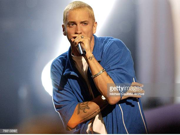 Eminem performs at the 2002 MTV Movie Awards at the Shrine Auditorium in Los Angeles during 2002 MTV Movie Awards Show at the The Shrine Auditorium...