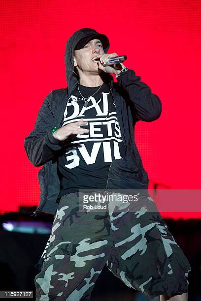 Eminem performs during the 2011 Bonnaroo Music And Arts Festival on June 11 2011 in Manchester Tennessee