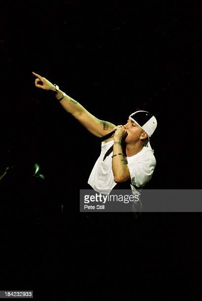 Eminem performs on stage at Milton Keynes Bowl on June 21st 2003 in Milton Keynes England