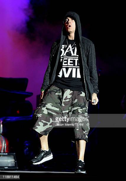 Eminem performs on stage during Bonnaroo 2011 at What Stage on June 11 2011 in Manchester Tennessee