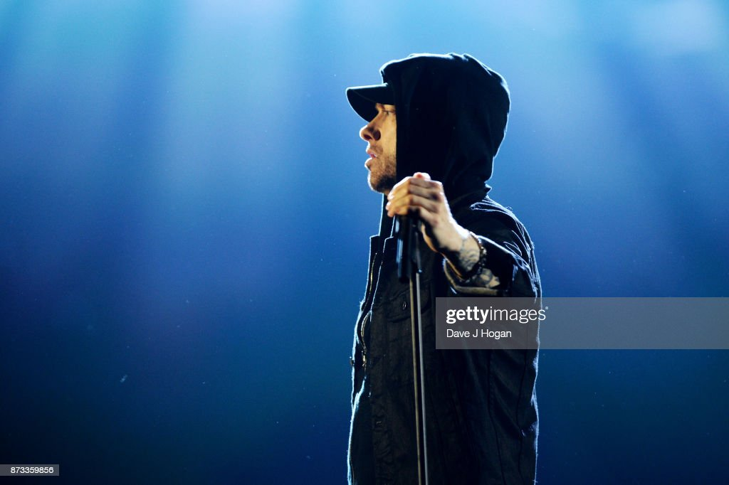 Eminem performs on stage during the MTV EMAs 2017 held at The SSE Arena, Wembley on November 12, 2017 in London, England.