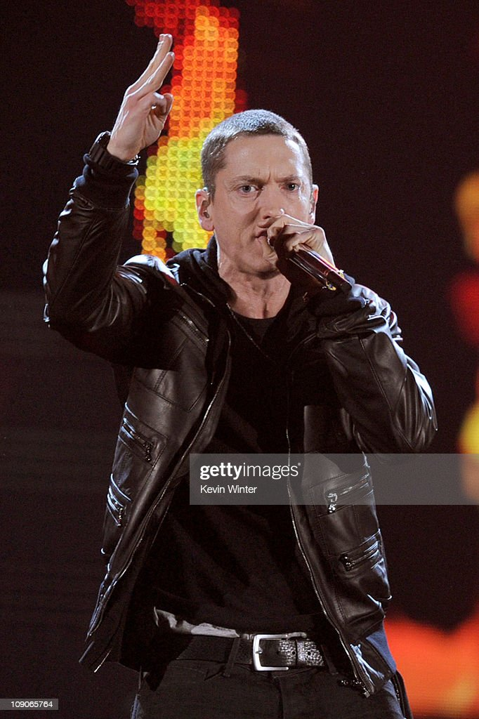 Eminem performs onstage during The 53rd Annual GRAMMY Awards held at Staples Center on February 13, 2011 in Los Angeles, California.