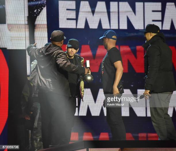 Eminem speaks on stage during the MTV EMAs 2017 held at The SSE Arena Wembley on November 12 2017 in London England