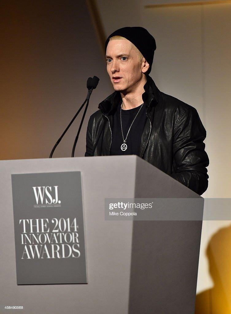 Eminem speaks onstage at WSJ. Magazine 2014 Innovator Awards at Museum of Modern Art on November 5, 2014 in New York City.
