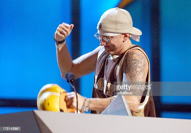 Eminem with puppet Ed during 2003 MTV Video Music Awards Show at Radio City Music Hall in New York City New York United States