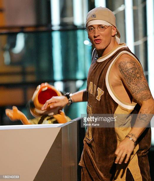 Eminem with puppet Special Ed at the 2003 MTV Video Music Awards