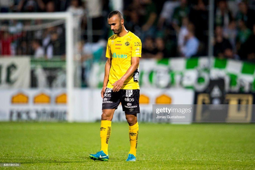Emir Bajrami of IF Elfsborg dejected during the Allsvenskan match between Jonkopings Sodra IF and IF Elfsborg at Stadsparksvallen on August 18, 2017 in Jonkoping, Sweden.