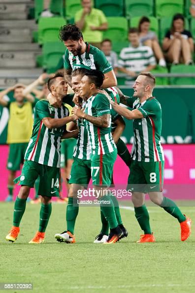 Emir Dilaver of Ferencvarosi TC celebrates scoring his team's goal with Dominik Nagy Marco Djuricin Cristian Ramirez and Gergo Lovrencsics of...