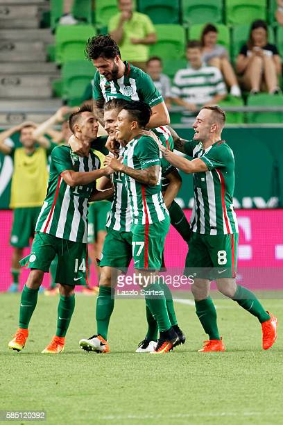 Emir Dilaver of Ferencvarosi TC celebrates scoring his team's goal with Dominik Nagy Marco Djuricin Cristian Ramirez and Gergo Lovrencsics of...