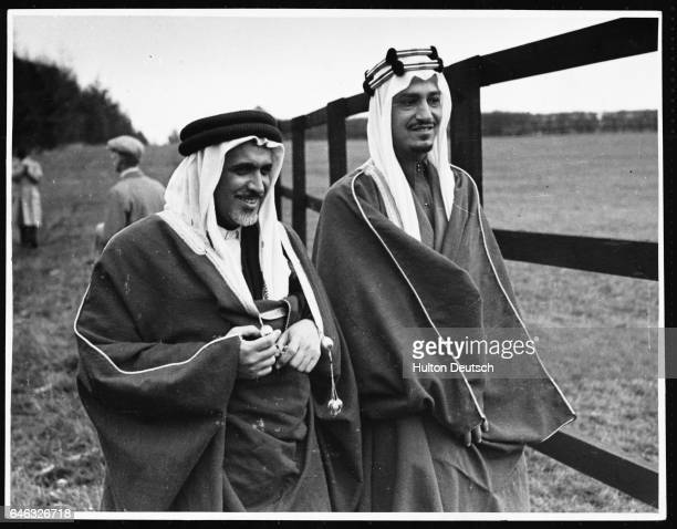 Emir Khalid Feisal fourth son of King Ibn Saud of Saudi Arabia with Sheikh Ibrahim el Suleiman on a visit to the Royal Stables in 1943