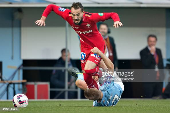 Emir Kujovic and Rasmus Bengtsson during the match between Malmo FF and IFK Norrkoping at Swedbank Stadion on October 31 2015 in Malmo Sweden