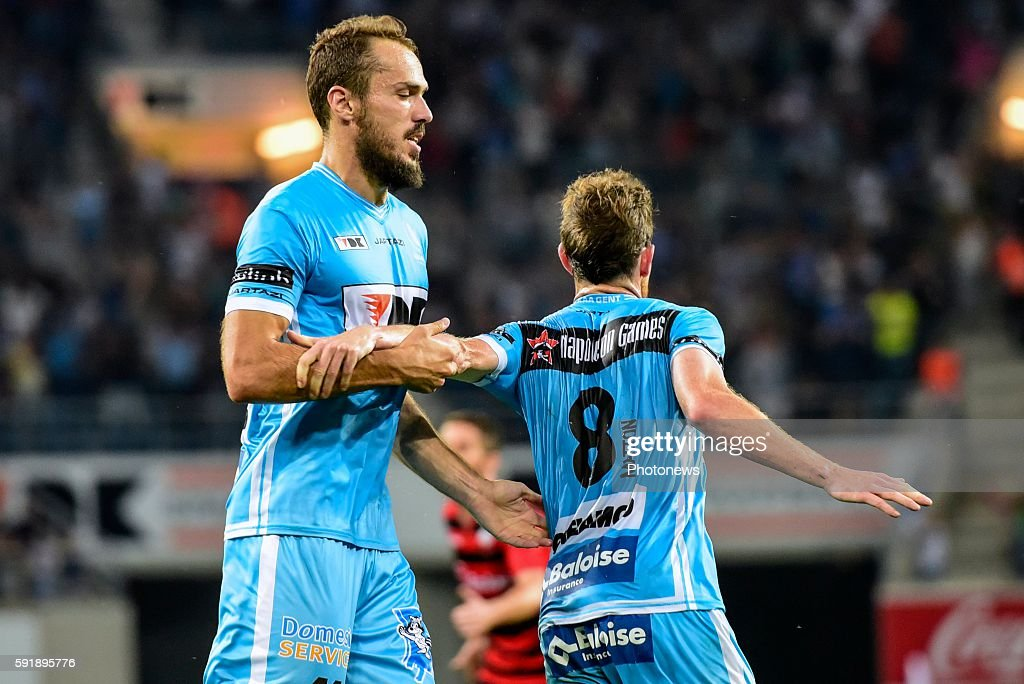 Emir Kujovic and Tomas Matton are celebrating after the 11 during the Uefa Europa League match between KAA Gent and KF Shkendija In the Ghelamco...
