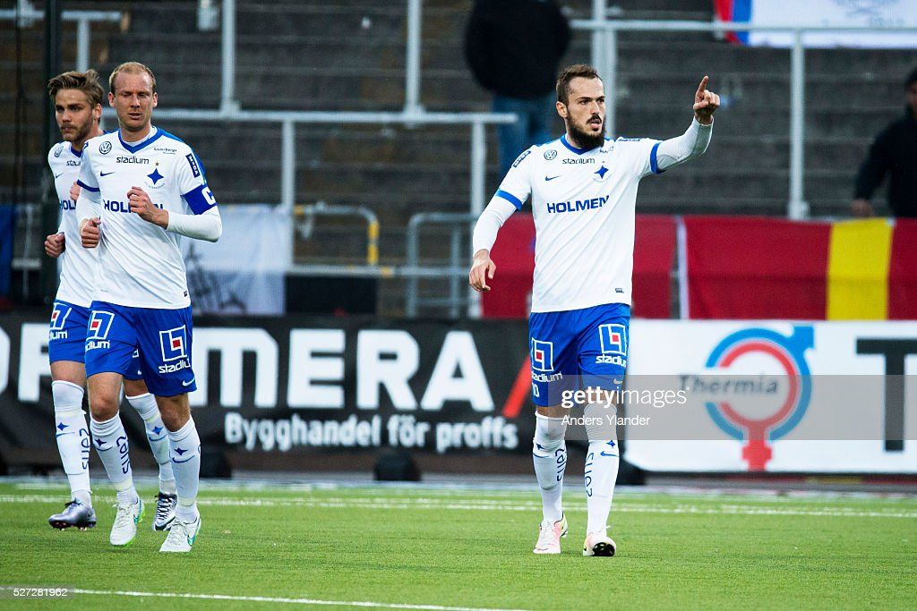 Emir Kujovic of IFK Norrkoping celabrates a goal (3-0) during the Allsvenskan match between IFK Norrkoping and Helsingborgs IF at Ostgotaporten on May 2, 2016 in Norrkoping, Sweden.