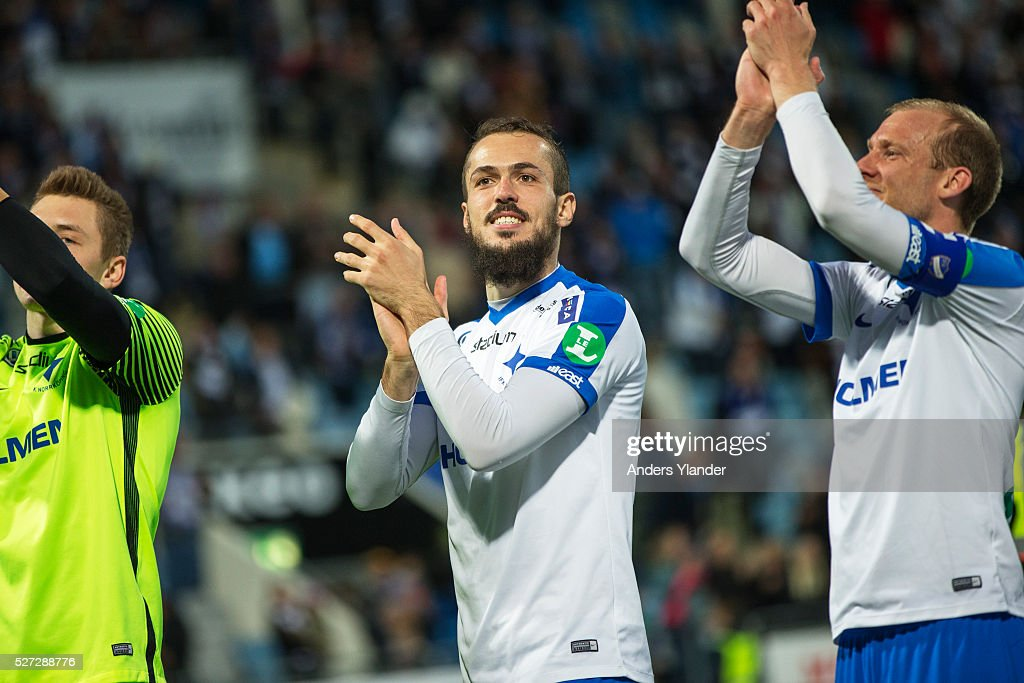 Emir Kujovic of IFK Norrkoping celebrates the victory after the Allsvenskan match between IFK Norrkoping and Helsingborgs IF at Ostgotaporten on May 2, 2016 in Norrkoping, Sweden.