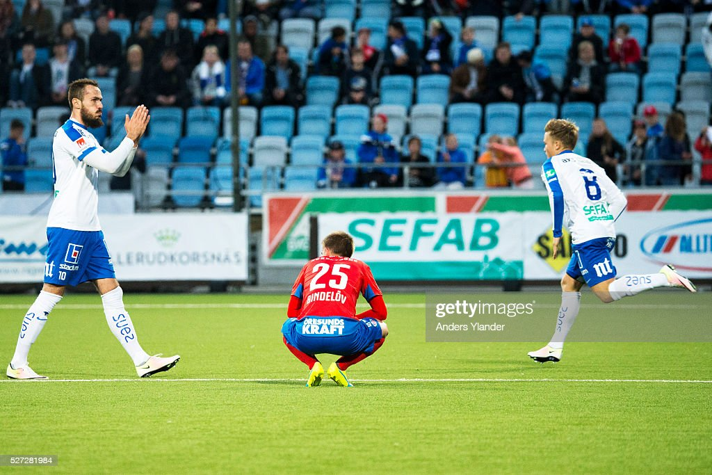 Emir Kujovic of IFK Norrkoping is substituted by Nicklas Barkroth of IFK Norrkoping and Felix Bindelov of Helsingborgs IF looks dejected during the Allsvenskan match between IFK Norrkoping and Helsingborgs IF at Ostgotaporten on May 2, 2016 in Norrkoping, Sweden.