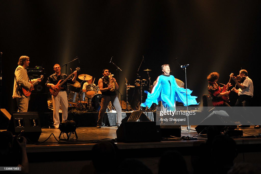 Emir Kusturica (L) and Dr Nele Karajilic (3rd R) performs on stage with The No Smoking Orchestra at Royal Festival Hall during Day 9 of the London Jazz Festival 2011 on November 19, 2011 in London, United Kingdom.