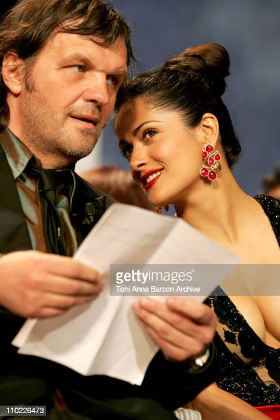 Emir Kusturica and Salma Hayek during 2005 Cannes Film Festival Cannes Awards Inside at Palais de Festival in Cannes France