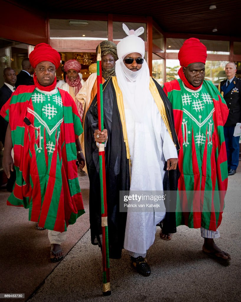 Emir of Kano Mallam Muhamned Sanusi II of Nigeria leaves the Hilton hotel after meetings with Queen Maxima of The Netherlands on November 2, 2017 in Abuja, Niger.