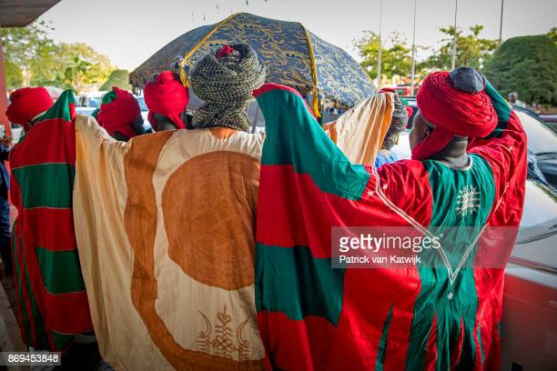 Emir of Kano Mallam Muhamned Sanusi II of Nigeria leaves the Hilton hotel after meetings with Queen Maxima of The Netherlands on November 2 2017 in...