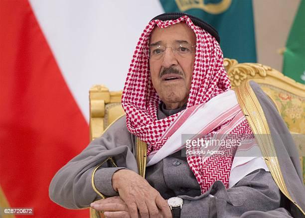 Emir of Kuwait Sabah AlAhmad AlJaber AlSabah is seen during a meeting with Saudi Arabia's king Salman bin Abdulaziz Al Saudat the Bayan Palace in...