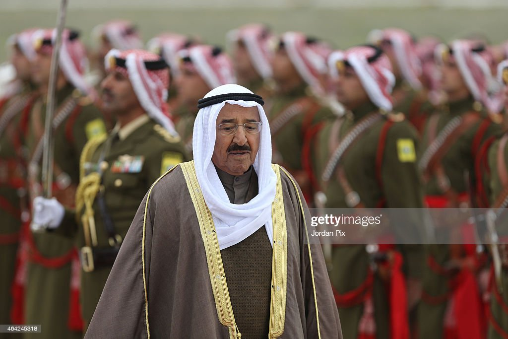 Emir of Kuwait Sheikh <a gi-track='captionPersonalityLinkClicked' href=/galleries/search?phrase=Sabah+Al-Ahmad+Al-Jaber+Al-Sabah&family=editorial&specificpeople=5573991 ng-click='$event.stopPropagation()'>Sabah Al-Ahmad Al-Jaber Al-Sabah</a> arrives for a visit to Amman for talks with King Abdullah II of Jordan on February 23, 2015 in Amman, Jordan. During their meeting, the two leaders are expected to discuss regional developments as well as strengthening their economic relationship.