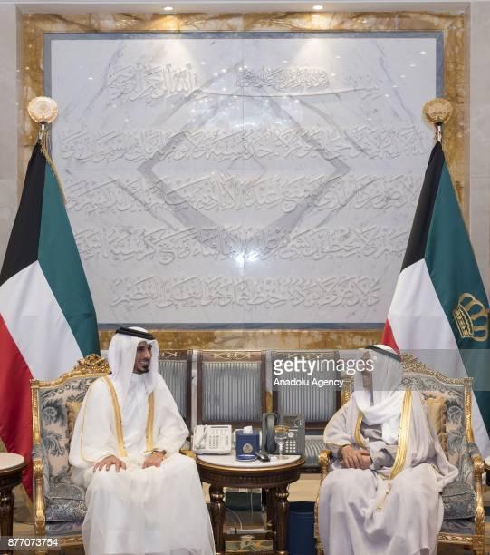 Emir of Kuwait Sheikh Sabah AlAhmad AlJaber AlSabah meets with Emir of Qatar Sheikh Tamim bin Hamad Al Thani's brothers Jassim Bin Hamad AlThani and...