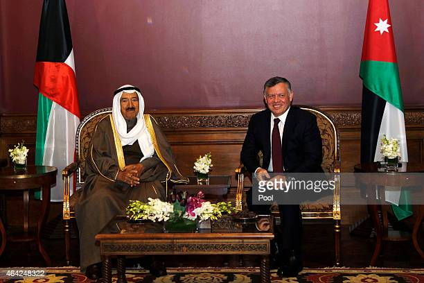Emir of Kuwait Sheikh Sabah AlAhmad AlJaber AlSabah poses for a photograph with King Abdullah II of Jordan during a visit to the capital on February...