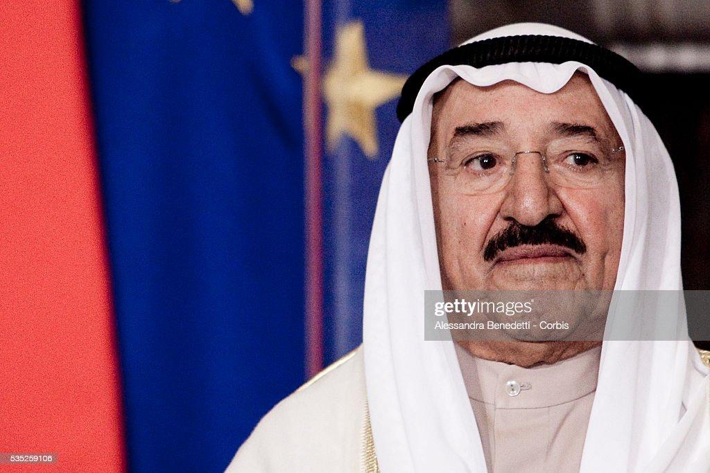 Emir of Kuwait Sheikh Sabah AlAhmad AlJaber during a meeting at Villa Madama with italian Prime Minister Silvio Berlusconi