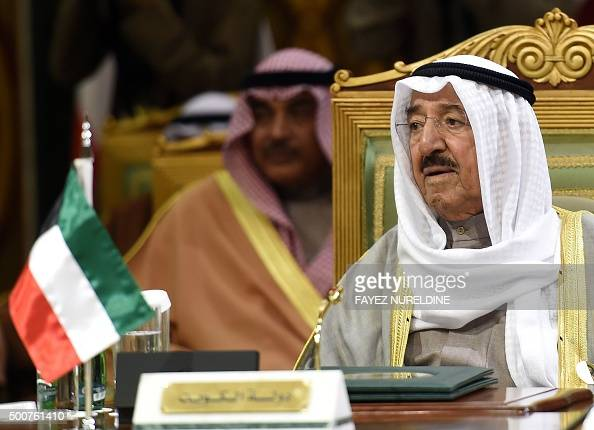 Emir of Kuwait Sheikh Sabah alAhmad alSabah attends the second day of the 136th Gulf Cooperation Council summit held in Riyadh on December 10 2015 as...