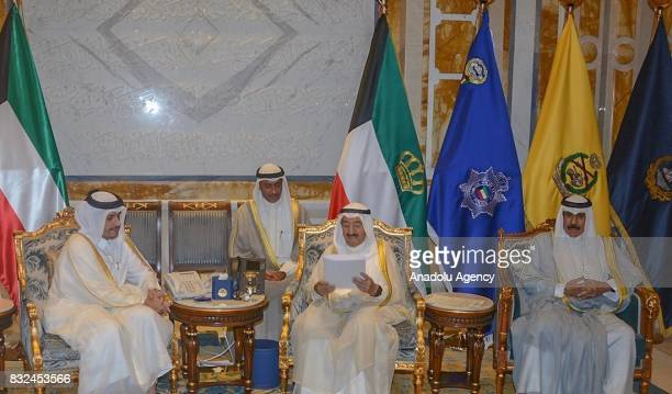 Emir of Kuwait Sheikh Sabah IV Ahmad AlJaber AlSabah meets with Qatari Foreign Minister Sheikh Mohammed bin Abdulrahman Al Thani at Bayan Palace in...
