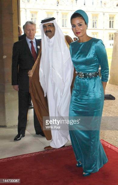 Emir of Qatar Sheikh Hamad bin Khalifa Al Thani and Sheika Mozah bint Nasser AlMissned arrive for a lunch For Sovereign Monarchs in honour of Queen...