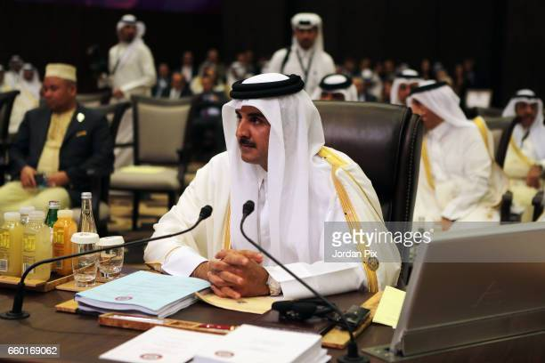 Emir of Qatar Sheikh Tamim Bin Hamad Al Thani attends during the Arab League summit in the Jordanian Dead Sea resort of Sweymah Jordan March 29 2017...