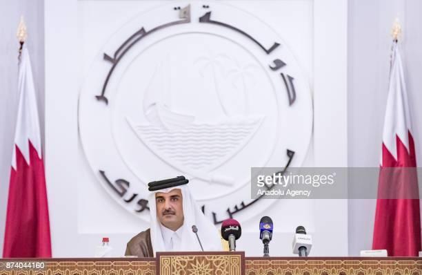 Emir of Qatar Sheikh Tamim bin Hamad Al Thani speaks on QatarGulf crisis during opening ceremony of 46th Consultative Assembly of Qatar in Doha Qatar...