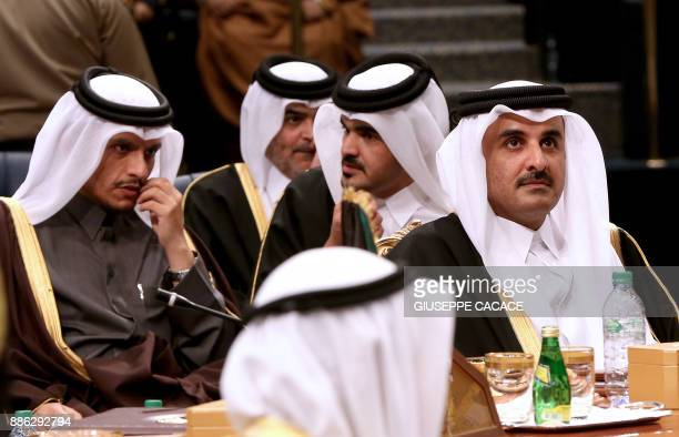 Emir of Qatar Sheikh Tamim bin Hamad alThani and his Foreign Minister Sheikh Mohammed bin Abdulrahman alThani attend the Gulf Cooperation Council...