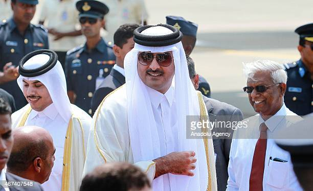 Emir of Qatar Sheikh Tamim bin Hamad AlThani arrives at the Katunayake International Airport in Colombo Sri Lanka on March 24 2015 Qatari Emir pays a...