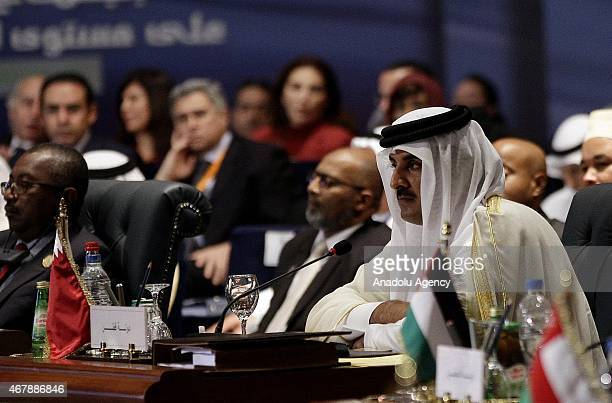 Emir of Qatar Sheikh Tamim bin Hamad AlThani attends the 26th Arab Summit in Sharm alSheikh Egypt March 28 2015 26th Arab League Summit takes place...