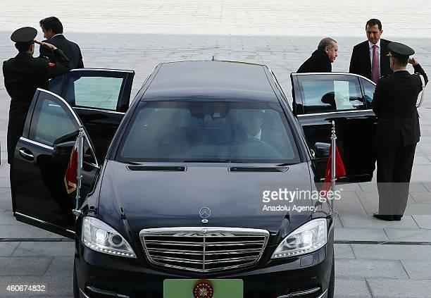 Emir of Qatar Sheikh Tamim bin Hamad bin Khalifa Al Thani and Turkish President Recep Tayyip Erdogan arrives at Ahmet Hamdi Akseki Mosque to attend...