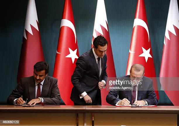 Emir of Qatar Sheikh Tamim bin Hamad bin Khalifa Al Thani and Turkish President Recep Tayyip Erdogan sign political declaration about HighLevel...