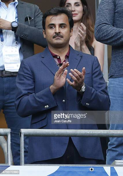 Emir of Qatar Sheikh Tamim bin Hamad bin Khalifa Al Thani attends the French Cup Final between Paris SaintGermain and AJ Auxerre at Stade de France...