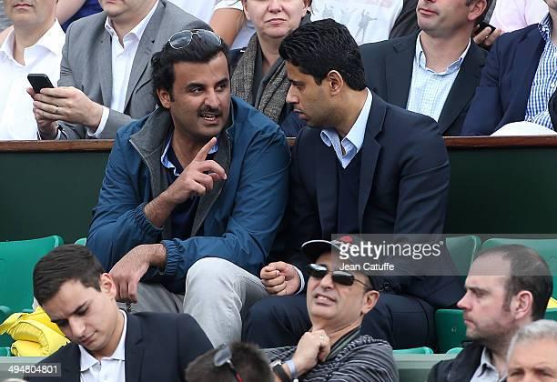 Emir of Qatar Sheikh Tamim bin Khalifa Al Thani and Nasser AlKhelaifi president of Paris SaintGermain PSG attend Day 6 of the French Open 2014 held...