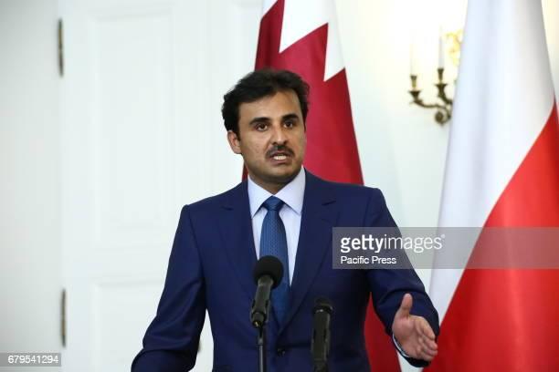 PRZEDMIESCIE WARSAW POLAND Emir of Qatar Tamam bin Hamad alThani gave common press statement after bilateral talks on agreements in Warsaw