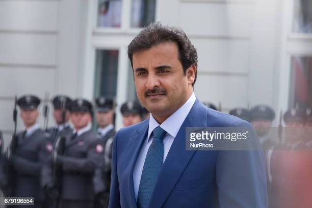 Emir of Qatar Tamim bin Hamad Al Thani at Presidential Palace in Warsaw Poland on 5 May 2017